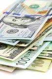 Различный конец-вверх валют Стоковые Изображения