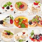 Различный коллаж десертов стоковые фото