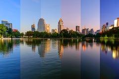 Различный цвет тени на озере в различном времени Стоковая Фотография RF