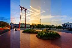 Различный цвет тени на ориентир ориентире гигантского качания в городе Стоковое Фото