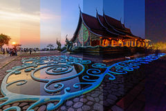 Различный цвет тени на тайской церков в Watsirindhornwararam/различном времени в одном кадре Стоковая Фотография RF