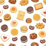 Различным картина вектора печенья изолированная тортом безшовная Стоковое Фото