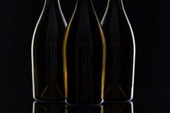 3 различных бутылки вина Стоковые Изображения