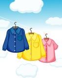 3 различных вида висеть одежд иллюстрация штока