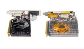 2 различных видеокарты оборудованной с теплоотводом и вентилятором Стоковое Изображение RF