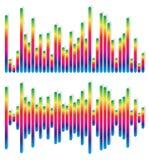 2 различных выравнивателя, графики EQ - вертикальные бары, прямоугольники Стоковые Фотографии RF