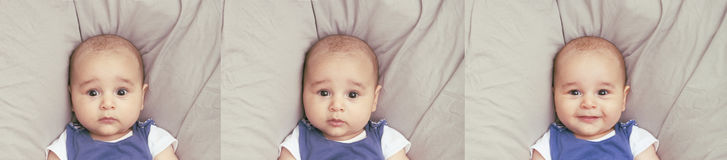 3 различных выражения младенца Стоковое Изображение