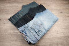 3 различных голубого джинс Стоковые Фото