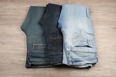 3 различных голубого джинс Стоковое Изображение