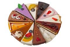12 различных изолированных кусков пирога Стоковое Изображение
