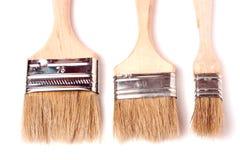 3 различных кисти размера изолированной на белой предпосылке Стоковые Фотографии RF