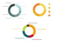 3 различных красочных изолированных диаграммы пирога бесплатная иллюстрация