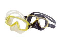 2 различных маски подныривания на светлой предпосылке Стоковая Фотография