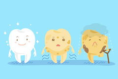 3 различных милых зуба шаржа Стоковые Изображения