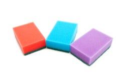 3 различных покрашенных губки Стоковое Фото
