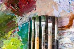 6 различных профессиональных paintbrushes Стоковые Фото