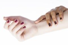 2 различных руки деланных маникюр nathion на белизне Стоковые Изображения