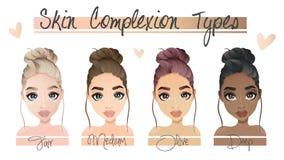 4 различных типа цвета лица кожи бесплатная иллюстрация