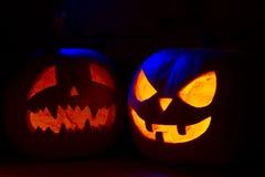 2 различных тыквы хеллоуина Стоковая Фотография