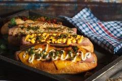 4 различных хот-дога Стоковые Изображения