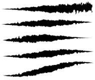 5 различных царапин когтя, метки когтя Нервный сулой, обветренные формы иллюстрация вектора