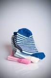 3 различных штабелированной пары носка, Стоковое Фото