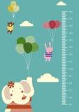 Раздуйте шаржи, стена метра или метр высоты от 50 до 180 сантиметров, иллюстрации вектора бесплатная иллюстрация