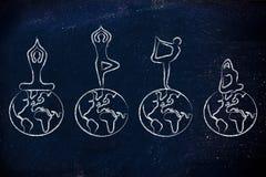 Раздумье йоги: yogis делая представления над миром Стоковые Изображения RF