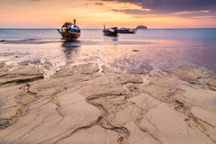 Раз утро на пляже песка Стоковая Фотография RF