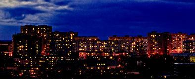 Район после захода солнца Стоковые Фото