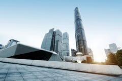Район центра города небоскребов Гуанчжоу, Китая стоковые фотографии rf