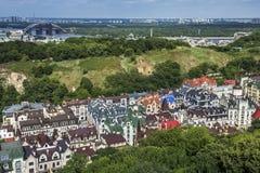 Район элиты Vozdvizhenka в Киеве, Украине Взгляд сверху на крышах зданий Стоковое Изображение RF