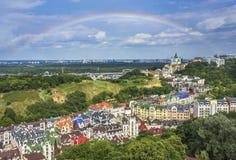 Район элиты Vozdvizhenka в Киеве, Украине Взгляд сверху на крышах зданий Стоковое Изображение