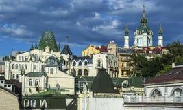 Район элиты Vozdvizhenka в Киеве, Украине Взгляд сверху на крышах зданий Стоковые Изображения