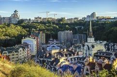 Район элиты Vozdvizhenka в Киеве, Украине Взгляд сверху на крышах зданий Стоковое фото RF