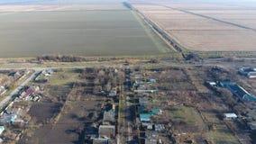 Район Elitnyy Krasnoarmeyskiy деревни, Краснодар Krai, Россия Летать на высоту 100 метров Руины и забвение Стоковое фото RF