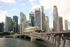 Район nad моста юбилея финансовый в Сингапуре Стоковое Изображение