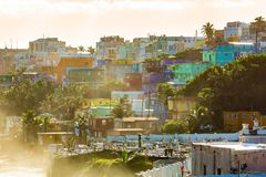 Район Perla Ла в старом Сан-Хуане на восходе солнца стоковое изображение rf