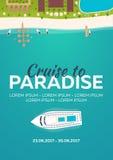 рай круиза к пляж тропический Самый лучший круиз Знамя вектора плоское для вашего дела иллюстрация штока