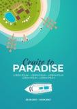 рай круиза к пляж тропический Самый лучший круиз Знамя вектора плоское для вашего дела иллюстрация вектора