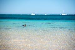 Рай песчаного пляжа воды залива коралла кристаллический Стоковое Изображение RF