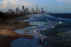 Рай серферов на заходе солнца (Gold Coast, Австралии) Стоковые Фотографии RF
