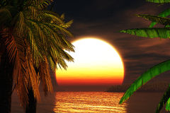 рай 3d представляет заход солнца тропической Стоковые Фотографии RF