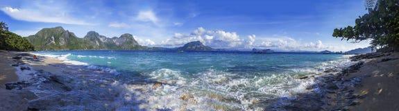 Рай El Nido, приставает панорамный взгляд к берегу Стоковые Изображения