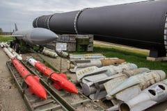 Ракета армии в украинском музее Ядерное оружие Бомбы воздуха Стоковое Изображение RF
