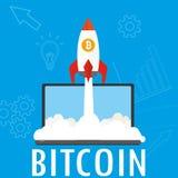 Ракета взлета и ноутбук, предпосылка концепции bitcoin иллюстрация штока