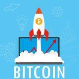 Ракета взлета и ноутбук, предпосылка концепции bitcoin иллюстрация вектора