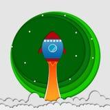 Ракета в иллюстрации идеи проекта origami искусства бумаги космоса Стоковая Фотография RF