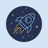 Ракета в линии значке космоса Стоковая Фотография RF