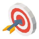 Ракета в иллюстрации вектора dartboard трехмерной на белизне Стоковое Изображение RF